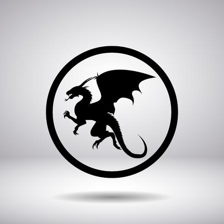 dragones: Silueta del dragón en un círculo Vectores