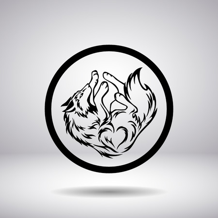 wolf face: Silhouette of a wolf in a circle