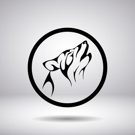 lobo feroz: Silueta de una cabeza de lobo en un círculo Vectores