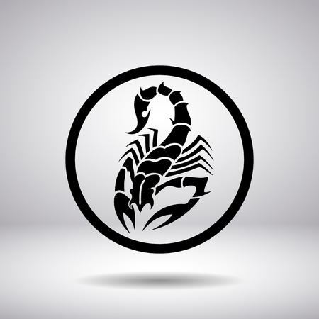 predatory insect: Silhouette of a scorpion in a circle