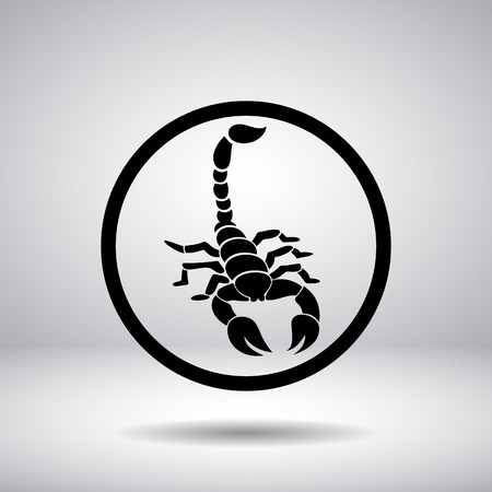 cartoon scorpion: Silhouette of a scorpion in a circle