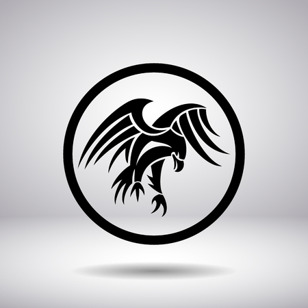 heraldic eagle: Silhouette of an eagle in a circle Illustration