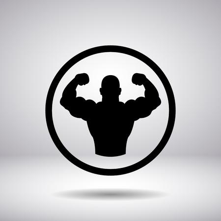 albañil: La silueta constructor del cuerpo en un círculo