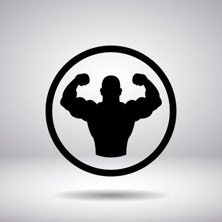 male bodybuilder: The body builder silhouette in a circle