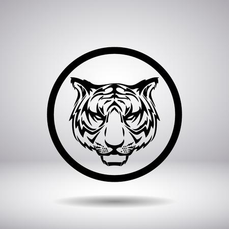 tigre blanc: Silhouette de t�te de tigre dans un cercle Illustration