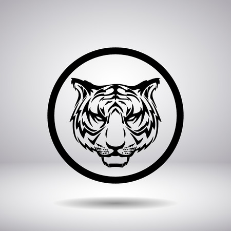 feline: Silhouette of tiger head in a circle