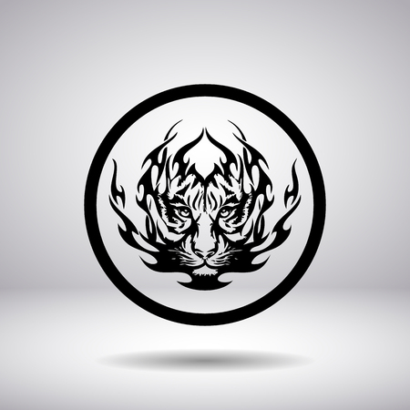 tiger head: Silhouette of tiger head in a circle
