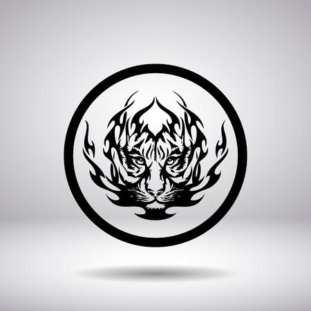 silueta tigre: Silueta de la cabeza del tigre en un círculo