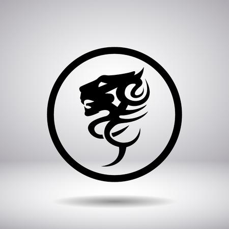 lion dessin: Silhouette de la tête d'un lion dans un cercle