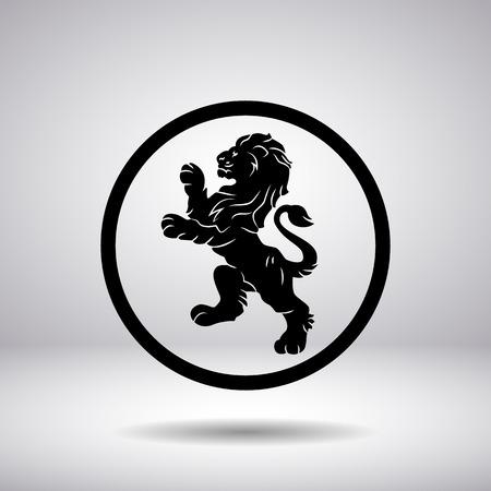 lion dessin: Héraldique d'un lion dans un cercle Illustration