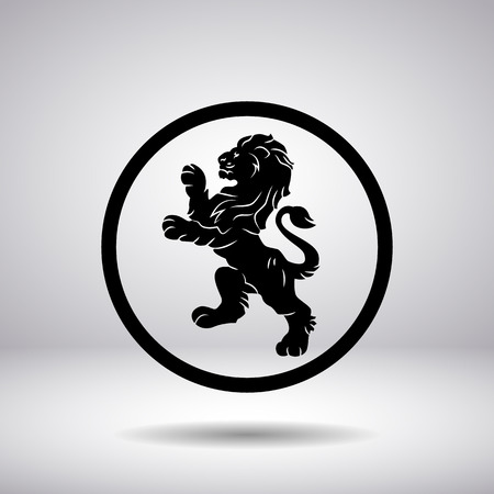 circular silhouette: Heraldry of a lion in a circle Illustration