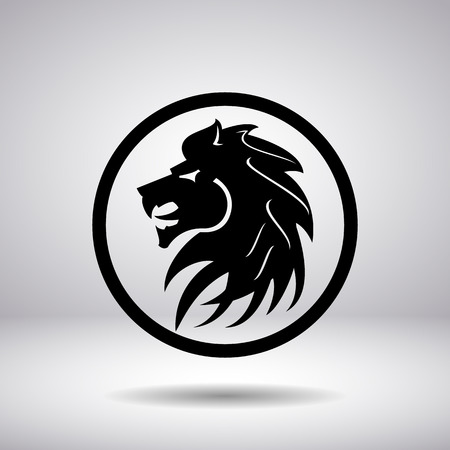 tattoo arm: Silhouette of a lions head in a circle Illustration