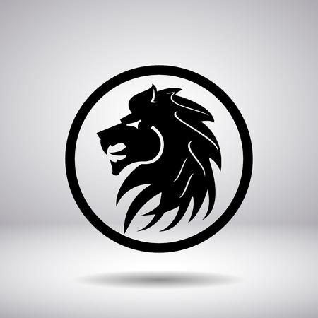 silueta tigre: Silueta de una cabeza de león en un círculo