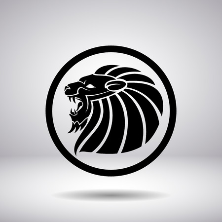 lion silhouette: Silhouette of a lions head in a circle Illustration