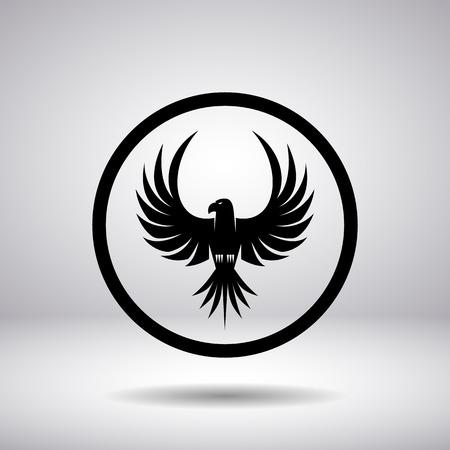 hawks: Silueta de un �guila en un c�rculo Vectores
