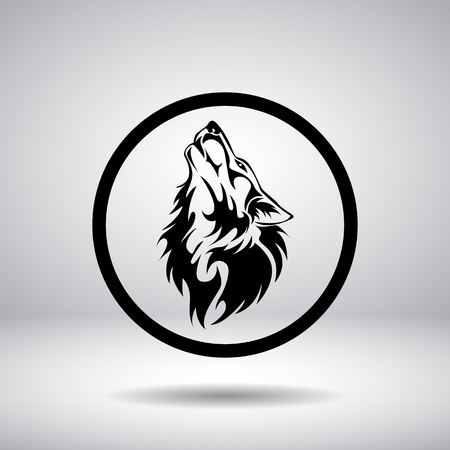 black and white wolf: Silhouette of a wolf head in a circle
