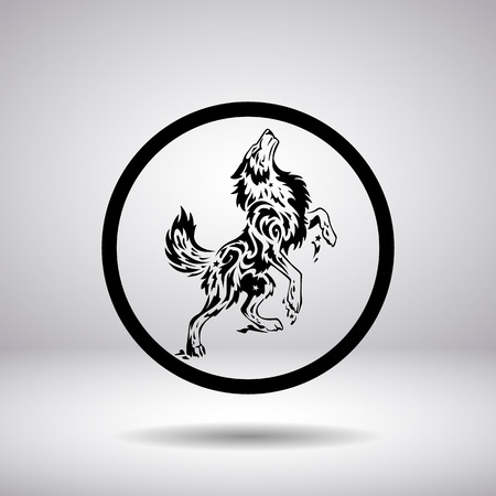 lobo feroz: Silueta de un lobo en un círculo Vectores
