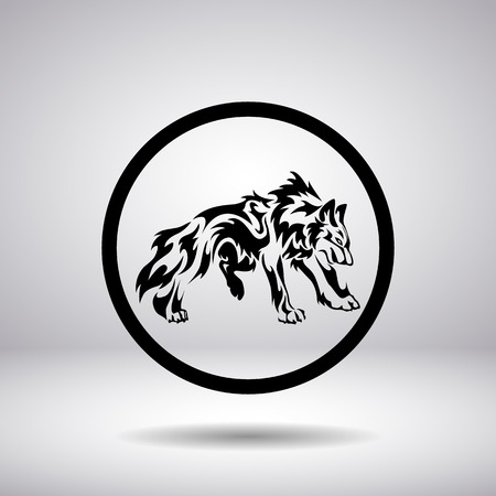 black and white wolf: Silhouette of a wolf in a circle