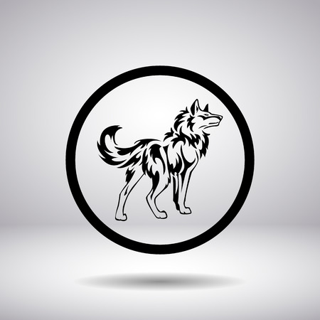 circular silhouette: Silhouette of a wolf in a circle