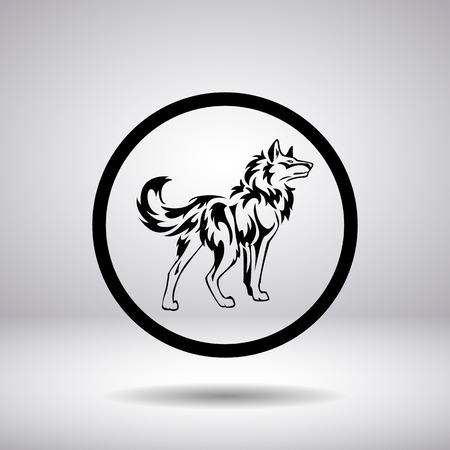 lobo: Silueta de un lobo en un c�rculo Vectores