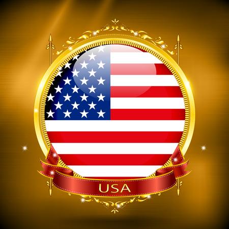 bandera estados unidos: Bandera de EE.UU. en ORO Vectores