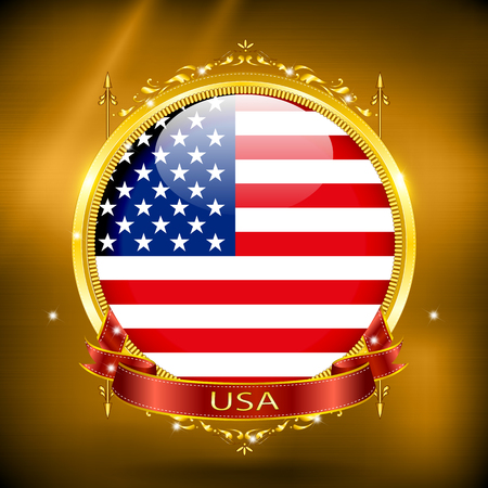 flag of usa: Flag of USA in GOLD