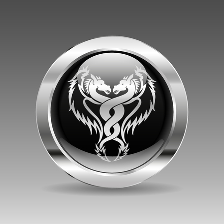 silver circle: Black glossy chrome button - Double Dragon