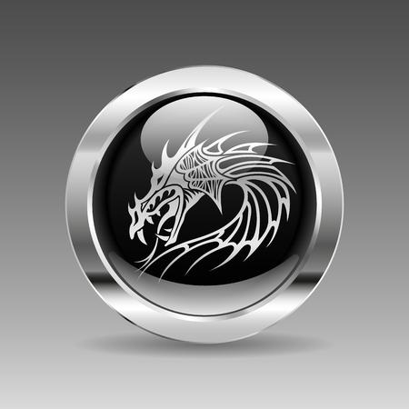 cabeza de dragon: Negro brillante bot�n cromo - Cabeza de drag�n