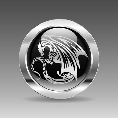 chrome: Black glossy chrome button - Dragon