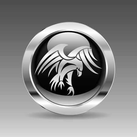 eagle flying: Black glossy chrome button - Flying Eagle
