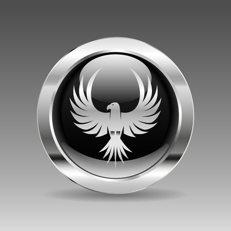 chrome metal: Black glossy chrome button - Eagle
