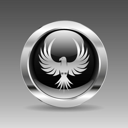black hawk: Black glossy chrome button - Eagle