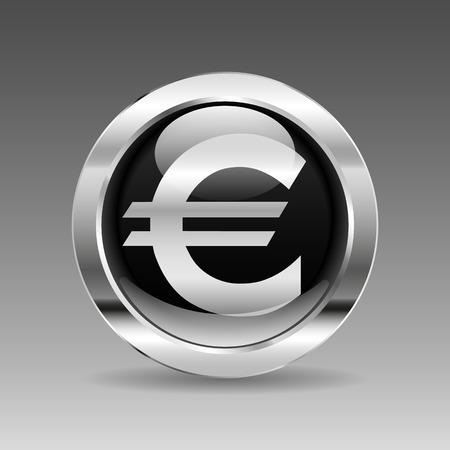 euro teken: Black glossy chrome button - Euro sign