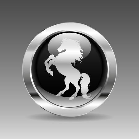 chrome: Black glossy chrome button - Horse