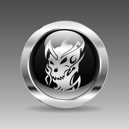 vector skull danger sign: Black glossy chrome button - Monster Illustration
