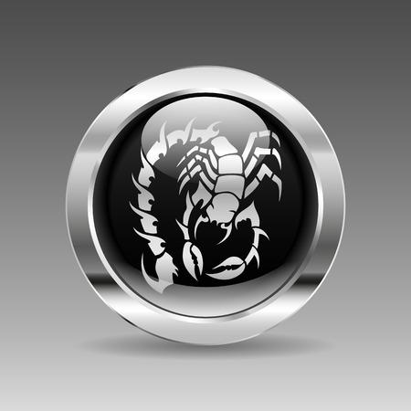predatory insect: Black glossy chrome button - Scorpion