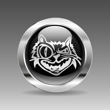 wild cat: Black glossy chrome button - wild cat