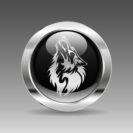 black and white wolf: Black glossy chrome button - Wolf head Illustration