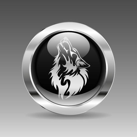 lobo feroz: Negro brillante botón cromo - cabeza del lobo Vectores