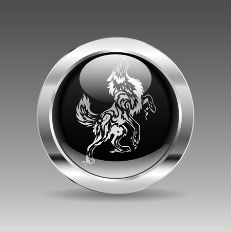 black and white wolf: Black glossy chrome button - Wolf