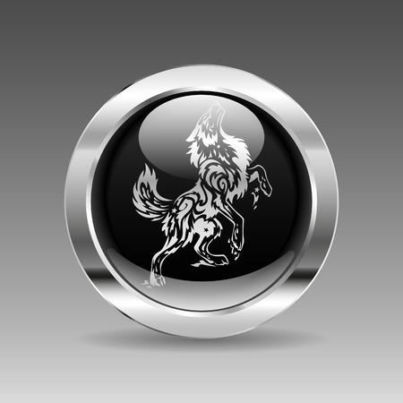 wolf head: Black glossy chrome button - Wolf