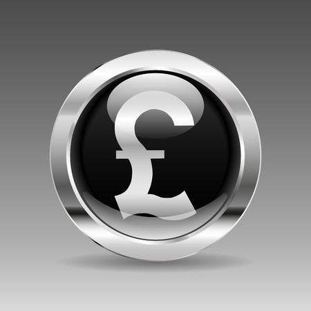 british pound: Black glossy chrome button - British pound sign
