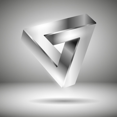 mysterious: Amazing silver 3d logo - mysterious illusion on a gray background