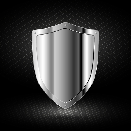 shiny metal background: Beautiful chrome shield on a dark background Illustration
