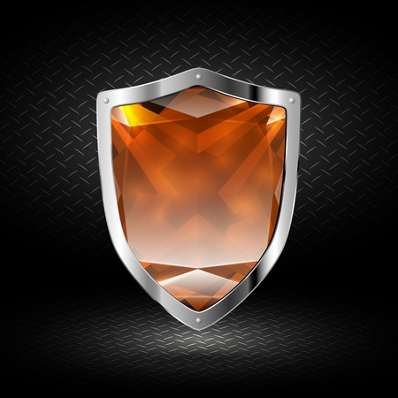 crystal background: Brown crystal shield in chrome on a dark background