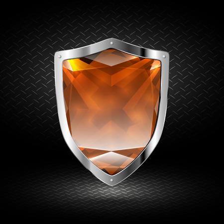dark chrome: Brown crystal shield in chrome on a dark background