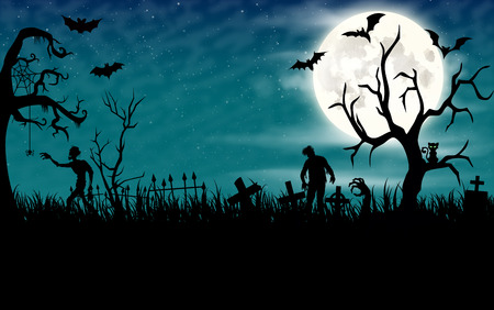 obscurity: Halloween night wallpaper with zombies and full moon in sky