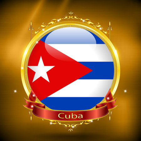 gilding: Flag of Cuba in GOLD on a gold background
