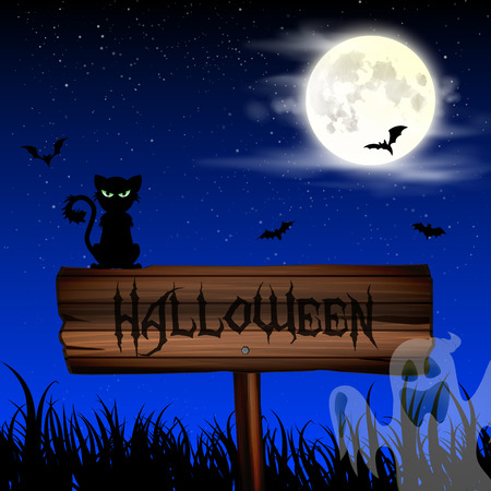 obscurity: Halloween night wallpaper with cat and full moon in sky Illustration