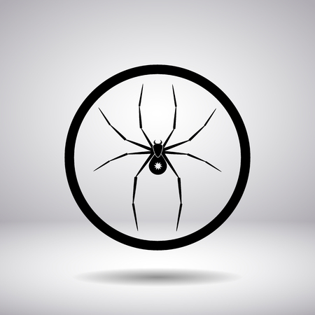poison fang: Silhouette of black spider in the circle on a gray background